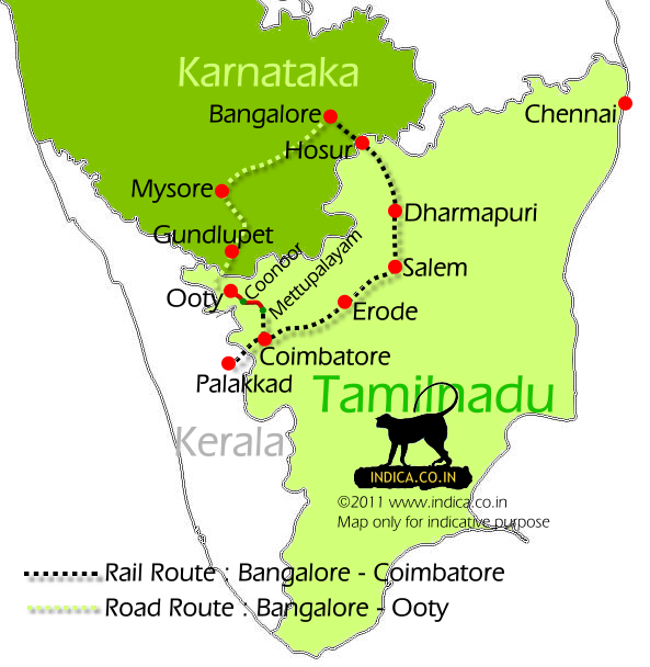 Train and Road route map to Ooty from Bangalore.