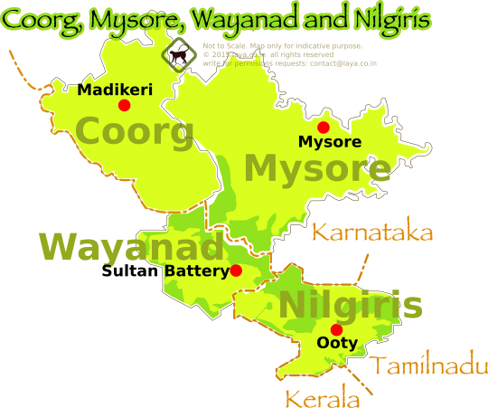 Nilgiris,Wayanad,Mysore and Coorg regions map